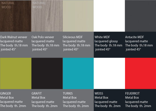 YaCube Cabinet Color Choices